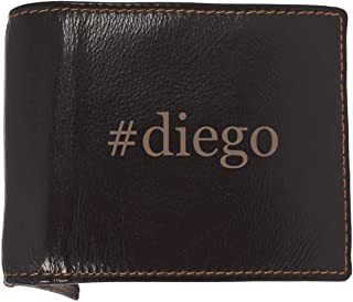 #diego - Soft Hashtag Cowhide Genuine Engraved Bifold Leather Wallet