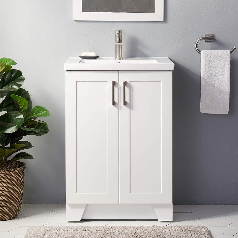 No Mirror Faucet 24 Inch Premium Grey Bathroom Vanity Sink Combo Single Bathroom Sink Cabinet Modern Bathroom Vanity Cabinet With Ceramic Vessel Sink Bathroom Vanity Set With 2 Doors Cabinet Kitchen Bath Fixtures Tools
