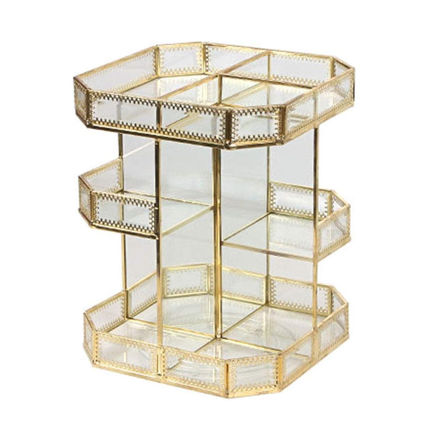便利さ憲法モス化粧品収納ボックスガラス回転透明レトロメタルデスクトップドレッシングテーブルスキンケアラック最高の贈り物 (Color : GOLD, Size : 21.7*21.7*28.2CM)