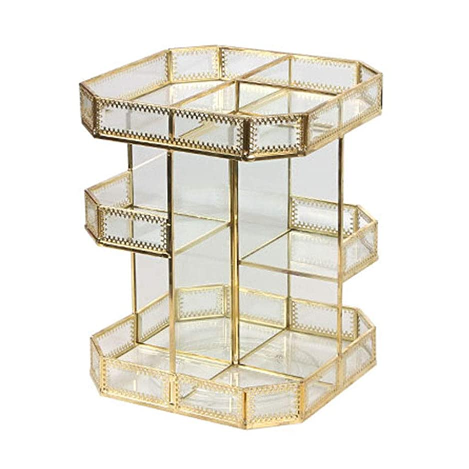 あなたはピザ些細化粧品収納ボックスガラス回転透明レトロメタルデスクトップドレッシングテーブルスキンケアラック最高の贈り物 (Color : GOLD, Size : 21.7*21.7*28.2CM)