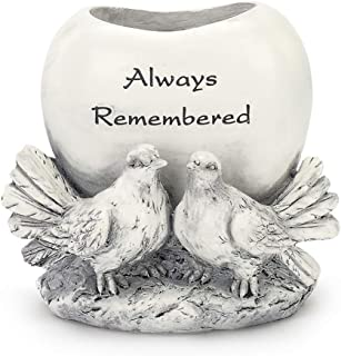 Always Remembered Doves Classic White 5 x 3 Resin Stone Standing Planter