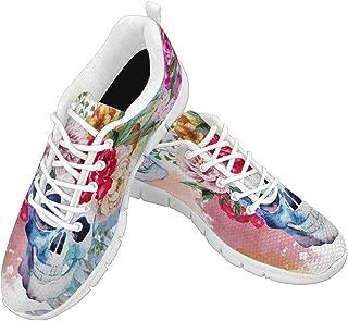 Zenzzle Women's Lightweight Breathable Shoes Womens Walking Sneakers Watercolor Ethnic Skull Pattern Size US6-12