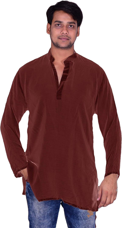 Lakkar Haveli Men's Indian Tunic Henley Shirt Kurta Solid Brown Color 100% Cotton Big Tall