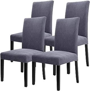 YISUN 4er/6er Set Stretch Kurze Esszimmer Stuhlhussen, Abnehmbare Waschbar Stuhlbezug Stuhl Schutzhülle für Wohnkultur Party Hotel Hochzeitszeremonie-(4-Stück, Grau)
