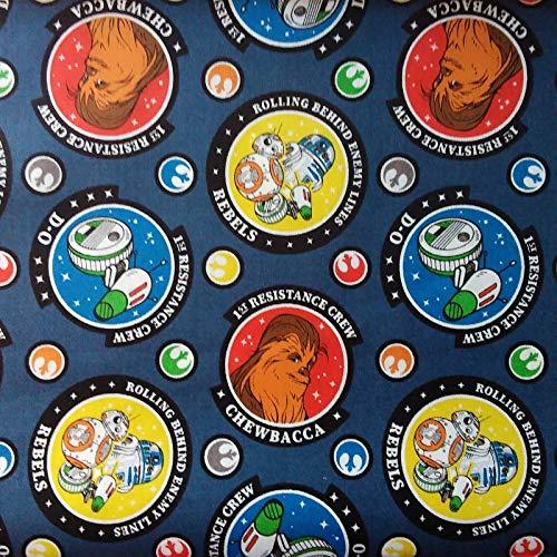Star Wars Blue Resistance Crew R2D2 Chewbacca BB8 Cotton Fabric Per 50cm