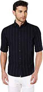 Dennis Lingo Men's Striped Black Slim Fit Cotton Casual Shirt