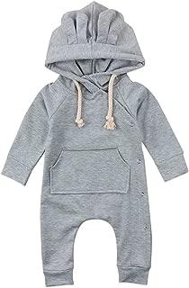 Baby Boy Hooded Onesie Newborn Unisex Baby Boy Girl Long Sleeve Pocket Ear Hoodie Side Snap Romper Bodysuit