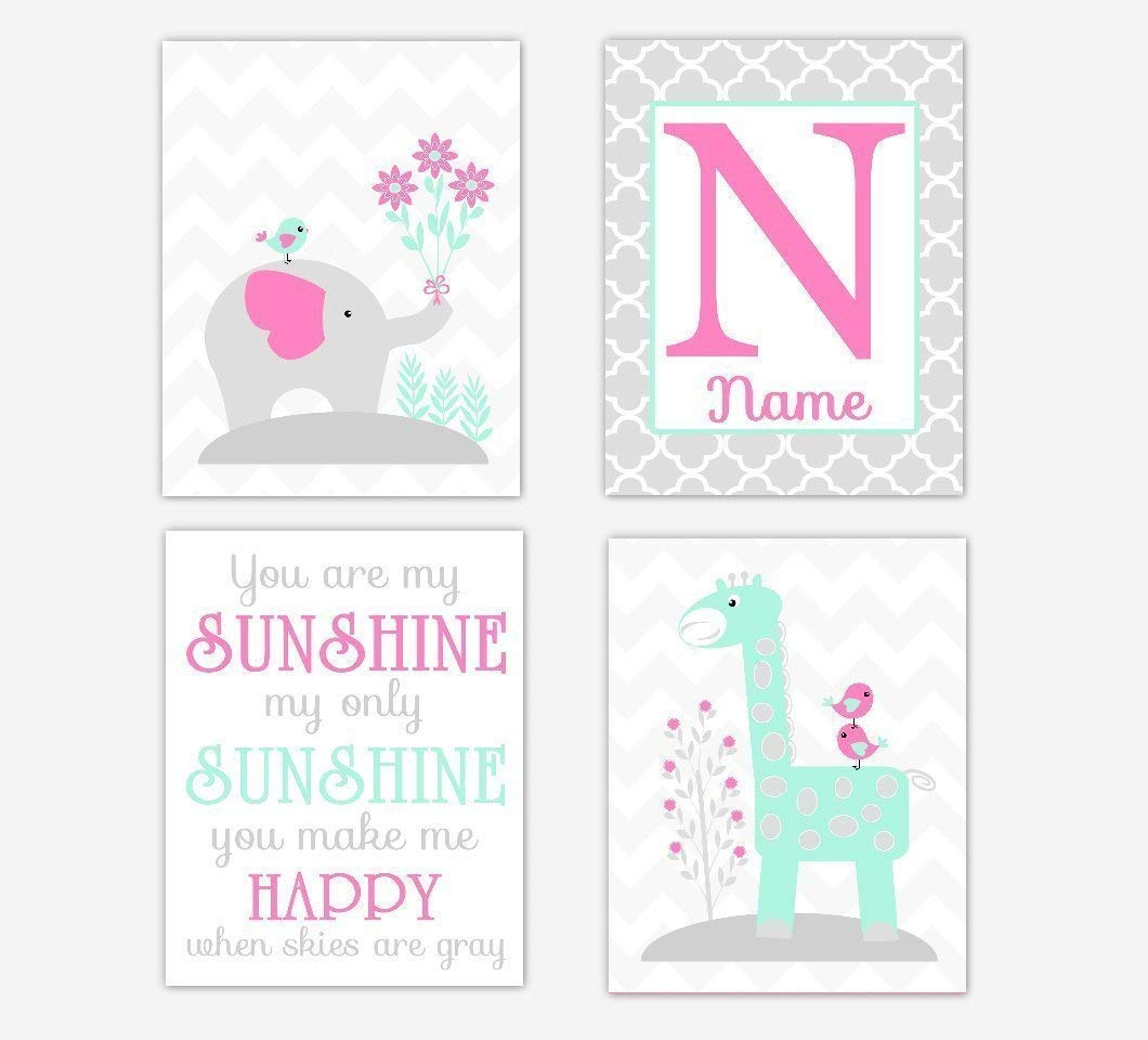 Baby Girl Nursery Art Elephant Personalized Max 85% OFF You latest Are Giraffe Pink