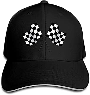 Checkered Flags Race Car Flag Pole Adjustable Sandwich Peaked Baseball Hats