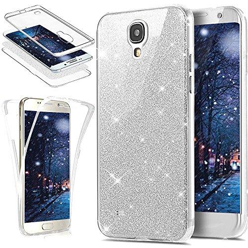 Kompatibel mit Galaxy S4 Hülle,Galaxy S4 Schutzhülle,Full-Body 360 Grad Bling Glänzend Glitzer Klar Durchsichtige TPU Silikon Hülle Handyhülle Tasche Case Front Cover Schutzhülle für Galaxy S4,Silber