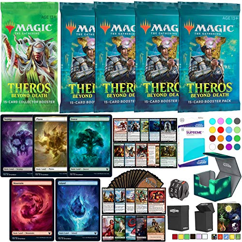 Totem World Theros Beyond Death Collector Booster Gift Bundle Deck Builder Toolkit: 4 Booster Packs, 20 Nyx Full Art Lands, 10 Rares, 100 Cards, Planeswalker Counter with Card Protector Accessories