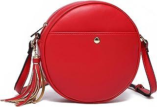 حقائب مستديرة بحزام كروس للنساء دائرية مع شرابة من كاTMICOO