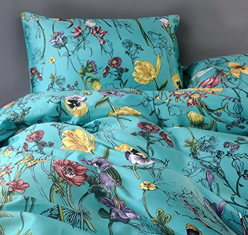 Eikei Vintage Botanical Flower Print Bedding 400tc Cotton Sateen Romantic Floral Scarf Duvet Cover 3pc Set Colorful Antique Drawing of Summer Lilies Daisy Blossoms (Queen, Blue)
