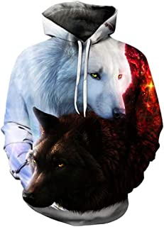 Man Pullover, Handsome Men's Autumn Winter 3D Wolf Print Long Sleeve Hooded Sweatershirt Top Blouse