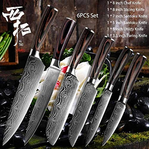 Best Quality Kitchen chef laser Damascus pattern paring vegetable Steak Cleaver cooking tool stainless steel color wooden handle