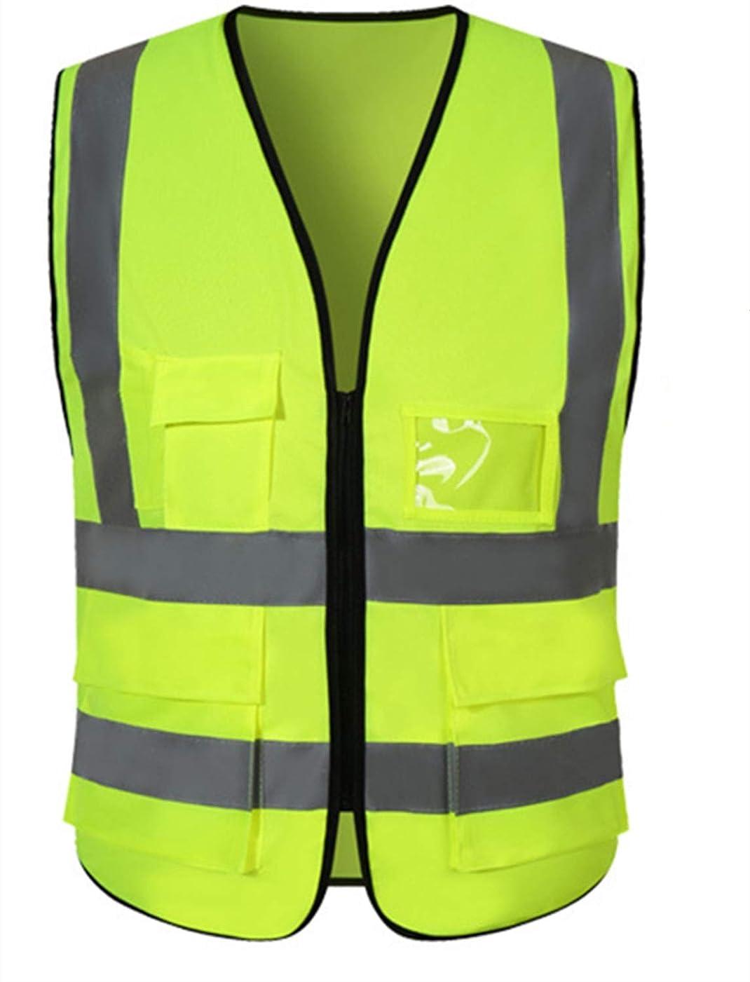 開業医悲しいことに幻想的DILLIS 高視認性安全ベスト、反射ベスト建設作業員、交通安全作業服カスタマイズ可能なロゴ (Color : Green, Size : XL)