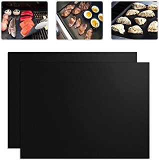 2 PCS 0.2mm Thick Barbecue Grill Mat Non-Stick BBQ Grill Mats, Size: 40x33CM Durable (Color : Black)