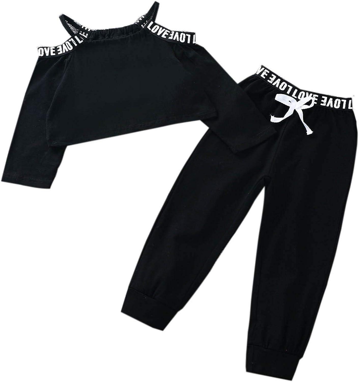 Doomiva Kids Baby Girls 2PCS Sports Outfit Long Sleeves Crop Top Jogging Pants Set Tracksuit Sweatsuit