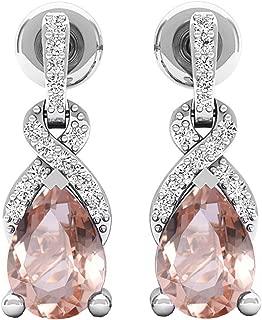 7X5 MM Each Pear Gemstone & Round Diamond Ladies Drop Earrings, Sterling Silver