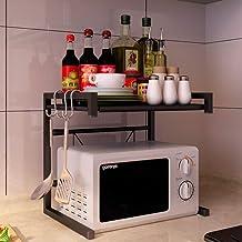 Microondas digitales horno Microondas horno de carro extensible, simple del estante de la cocina del panadero, Utilidad de almacenamiento de validez 2 Niveles con ganchos horno de microondas Manual
