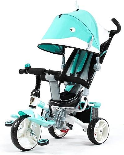 Juguetes Portátil 4 en 1 Triciclo de Triciclo fácil para Niños con 4 Colors y Llantas EVA Neumático del Amortiguador de Choque (Color   azul)