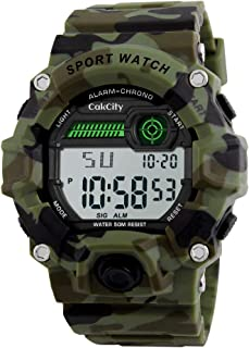 Boys Camouflage LED Sport Watch,Waterproof Digital Electronic Casual Military Wrist Kids Sports Watch With Silicone Band L...