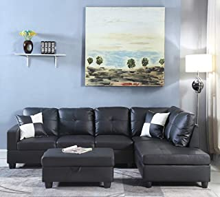 Right Hand Facing Chaise Modern Living Room L Shaped Faux Leather Sectional Sofa Set - Black