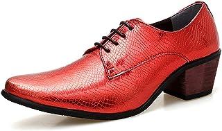 TAZAN Zapatos de Oxford con Cordones en Punta para Hombre Zapatos Derby de Cuero de tacón Alto Vestido Casual Fiesta de Ne...