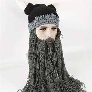 GUJIAO Creative Winter Viking Wool Horn Hat Long Beard Funny Knit Cap Halloween,Darkgray