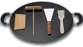 Tillbehör för kommersiell Crepe Maker, Pan Griddle Cast Iron Pancake Tool, för lämplig gasspis, induktionskokare, kan anvä...