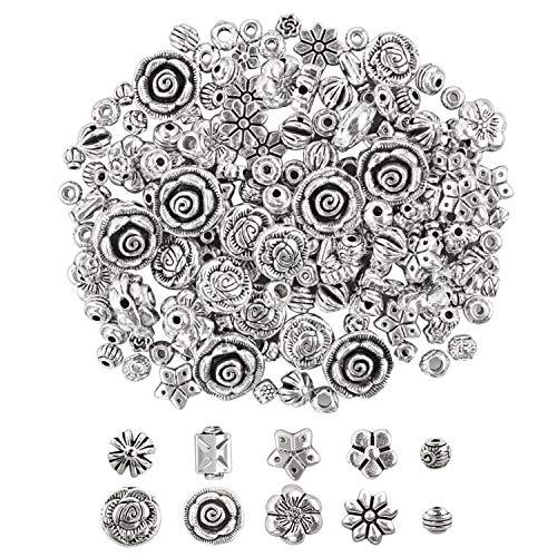 160pcs Abalorios para Collares Cuentas Espaciadoras para Joyería, Accesorios de Aleación de Bricolaje para DIY Pulseras Joyería Abalorios Espaciadores Mixtos (20 Modelos, Plata)