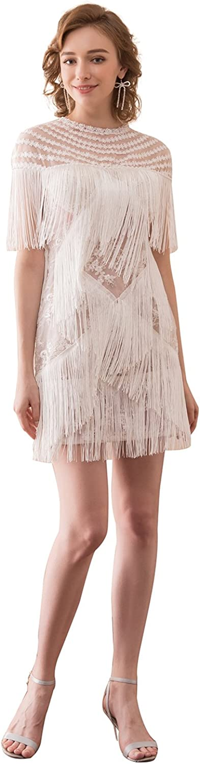 Epinkbridal Women Tassels Short Homecoming Dresses Glam Flapper Fringed Lace Gatsby Dance Party Dress