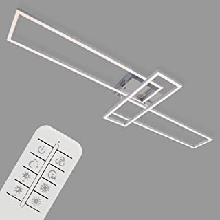 Briloner Leuchten LED, lámpara de Techo Regulable, Incluye Remoto, Control de Color de Temperatura, función de luz Nocturna y Temporizador, Cromo-Aluminio, 1100x350x100mm