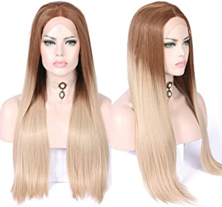 Fennell 2 Tone Blonde Ombre Long Natural Straight Synthetic Hair Middle Parting Glueless Lace Front Wig for Women (Ombre brown to blonde)