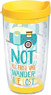 Tervis 1219205 Not All Those Who Wander Are Lost Tumbler with Wrap and Yellow Lid 16oz, Clear