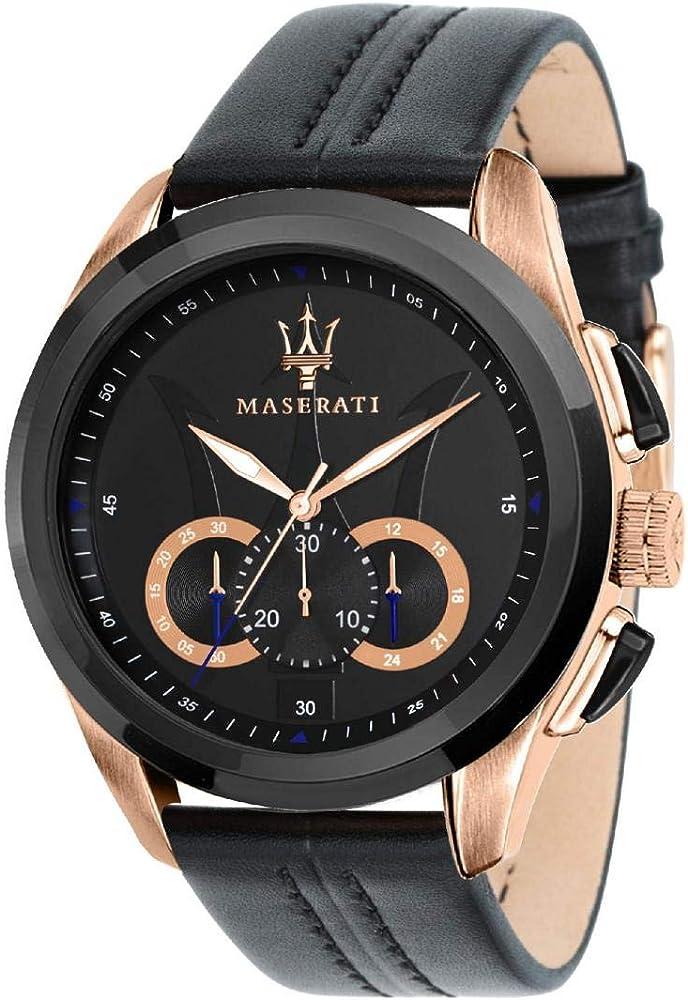 Maserati orologio da uomo, collezione traguardo cronografo, in acciaio e cuoio 8033288792246