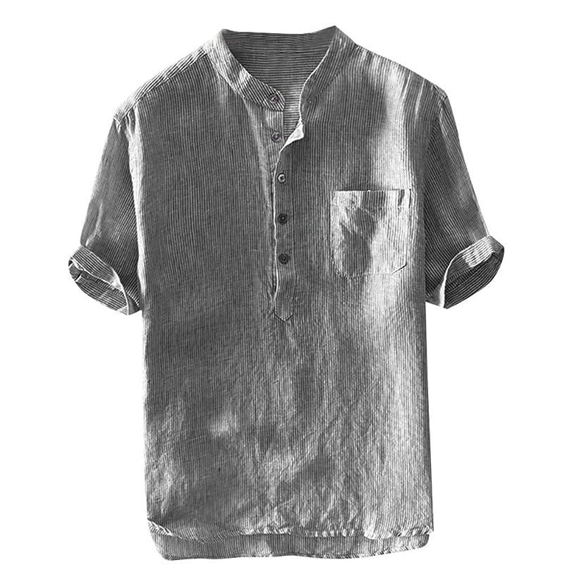 Mens Linen Beach Shirts Tronet Men's Baggy Stripe Cotton Linen Short Sleeve Button Pocket T Shirts Tops Blouse