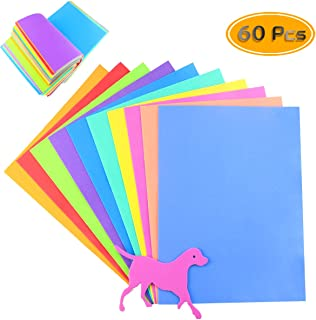 "BcPowr 60PCS EVA Craft Foam Sheets, Foamie Sheets Rainbow Foam Handicraft Sheets Colorful Crafting Sponge For Arts DIY Projects, Classroom, Scrapbooking, Parties(10Color, 11"" x 8"", with Animal Models)"