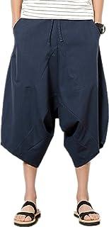 Infabe パンツ メンズ サルエル カジュアル ヒップホップ 7分丈 スウェット 無地 ポケット付け オールシーズン対応 ズボン