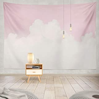 Wall Tapestry Pink, Pink Tapestry White Sky Cloud Pastel Soft Love Valentine Sky Cotton Candy Cloud White Decorative Tapes...