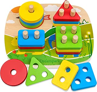 Dreampark Educational Toddler Toys for Boys Girls Age 1 2 3 4 and Up, Wooden Shape Color Recognition Preschool Stack and S...
