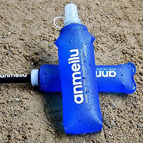 ZEREA Termo suave de TPU plegable para correr botellas de agua portátiles con paja para deportes al aire libre Maratón Running Senderismo Ciclismo Escalada - (350 ml+paja)