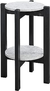 Convenience Concepts Newport Medium Plant Stand, Faux Cement/Black