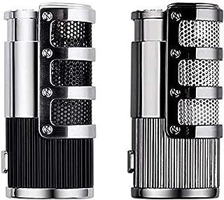 Cigar Cutter and Lighter Set, Cigar Punch Lighter Triple Jet Flame Butane Cigarette Torch Lighter (Black+Silver)