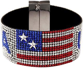 NASAMA USA Flag Hot Drilling Bracelets Hand Belt Patriotic Classic Bangle Hip Hop Jewelry for Men`s Gift