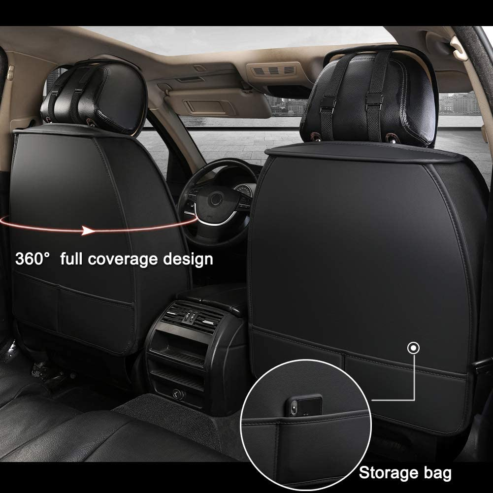 Fit Most Sedans SUVs Pickup Trucks Minivans Giant Panda 1 Pair Front Car Seat Covers for Passenger Seat and Driver Seat Black+Red Line