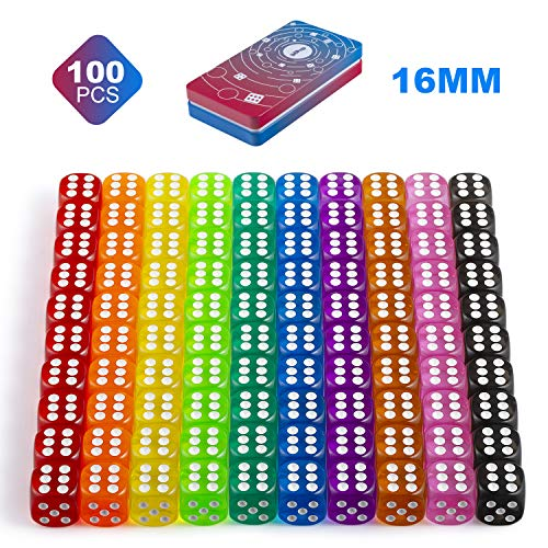 DNDND 100 Pieces D6 Game Dice Set, Standard Size 16mm Six-Sided Rounded Edges Dice in 10 Different Translucent Colors with Gift Case for Playing Games Math Party Games