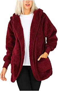 Cardigan Womens Solid Plush Hooded Jacket with Pocket Winter Coats