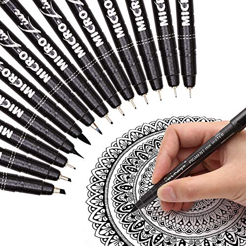 Dainayw Precision Micro-Line Pens, Black Waterproof Archival Ink Calligraphy Pen for Artist Illustration, Technical Drawing, Manga Writing, Hand Lettering, Multiliner, Fineline, Scrapbooking, 13 Size