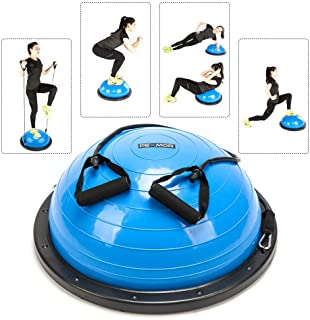 PEXMOR Yoga Half Ball Balance Trainer Exercise Ball Resistance Band Two Pump Home Gym Core Training